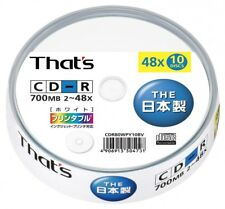 Taiyo-yuden That's CD-R for x48 700MB printable 10pcs CDR80WPY10BV With Tracking