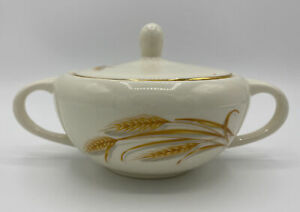 Vintage Homer Laughlin Eggshell Nautilus Ivory Pink Yellow Blue Floral Gold Accent Sugar Bowl With Lid