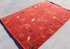 R3368 Gorgeous Ruby Red Woolen Handmade Tibetan Area Rug 5' x 8' Made in Nepal