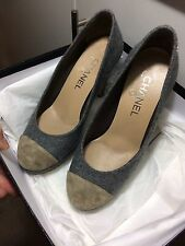 CHANEL gray wool lined beige suede toed leather platform shoes eu 37 us 7 uk 4.5