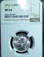 1912 Great Britain Shilling KM# 816  MS64  NGC