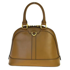 Authentic BURBERRY Logo Tote Hand Bag Nova Check Canvas Leather Brown 61BM956