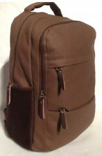 New old School business brown clean canvas backpack laptop mesh though durable