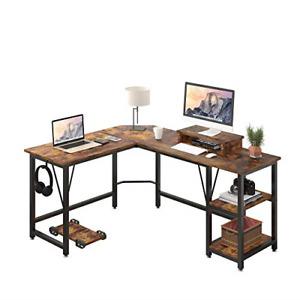 TREETALK Computer desk, L-shaped Corner Desk with 2-Layer Storage,Large PC Table