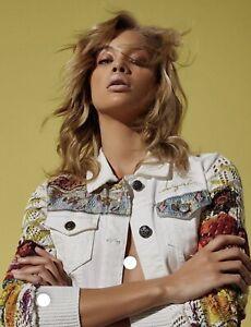 Desigual embroidered white Denim jacket Size 38-One Of Desiguals most Popular