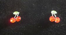 CHERRY Earrings Pierced Cherries Crystals Red Green Leaf New Silver Tone