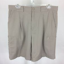 Izod XFG Mens Shorts Single Pleat Front Size 34 Inseam 9 Brown