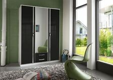 German Trio Black Gloss & Chrome 3 Door 2 Drawer Wardrobe 135cm 4FT6