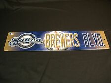 "* MILWAUKEE BREWERS BLVD* VINYL / PLASTIC STREET SIGN NEW 3.75"" X 16"" BREW CREW"