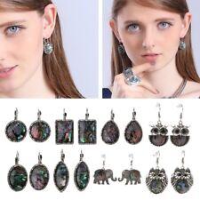 Vintage Natural Coral Abalone Shell Drop Dangle Earrings Women Seaside Jewelry