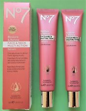 """NEW"" Boots No7 Restore & Renew Face & Neck MULTI ACTION Serum 2 x 50ml [BOXED]"