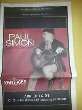 Paul Simon Full Page Newspaper Concert Ad Hollywood Pantages Theater April 2011