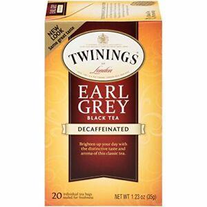 Twinings of London Earl Grey Black Tea - Decaffeinated - Box of 20 Tea Bags