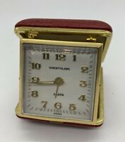 Vintage Westclock Wind Up Travel Alarm Clock Red Pebbled Leather Case Tested