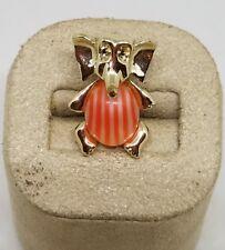 Vintage Estate Elephant Orange Stripe Jelly Belly Brooch Pin Jewelry