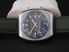 Rare Sicura Apollo vintage men's oversized diver sub watch twin crown 39x45 mm