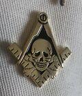 Masonic Skull Square And Compass Lapel Pin Rare