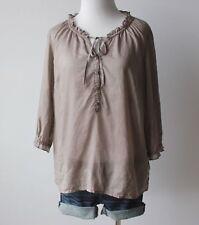 OLD NAVY Women's Ruffle Tie V Neck Henley Boho Peasant Sheer Blouse Top Shirt M