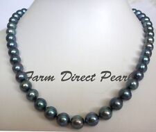 "36"" Long Genuine ROUND 9-10mm Black Pearl Strand Necklace Cultured Freshwater"