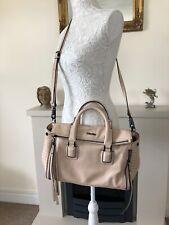 Calvin Klein Medium Beige Handbag Tote Crossbody Logo Designer Bag VGC Genuine