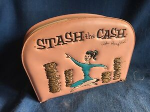 Vintage Pink Vinyl Ponytail Pony Tail Stash The Cash Purse Bank Barbie Date Line