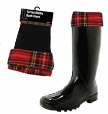 Scottish Fleece Wellie Boot Liners With Tartan Trim Fit Adult Size 4-7