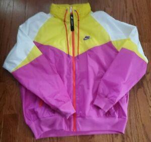 Nike Men's Windrunner Full Zip L Iced Jade Pink Yellow MSRP $100 AR2209-623 NEW