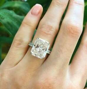 Simulated Engagement Ring 2.50 CT Radiant Cut Ring/ 14k White Gold Ring Set