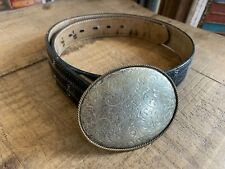 Super Rare Men's Leather Belt Silver Buckle