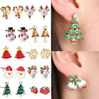 Santa Claus Rhinestone Pierced Christmas Tree Deer Earrings Ear Stud Women Gift