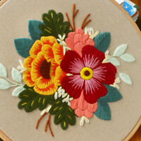 KQ_ KE_ DIY Art Handmade Sewing Crafts Flower Pattern Needlework Embroidery Kit