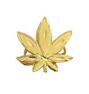 Men's Gold Cannabis Ring Weed Ring 10K Yellow Gold