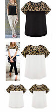 Women's Cotton Blend Animal Print Short Sleeve Sleeve Casual Tops & Blouses