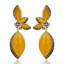 22k Yellow Gold Plated Women Elegant Dangle Earrings Designer Fashion Jewelry