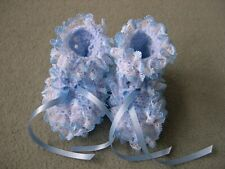 New Hand Knitted Blue Lacy Baby Bootees to fit 0-3 months