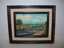 Cotopaxi Volcano Vtg Folk Art Low Bas-Relief Carved Wood 3-D Painting