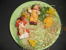 Deko Teller mit 3 Tierfiguren aus Kunststein