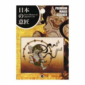 Japanese MAKIE Seal Sticker Raijin God Made in JAPAN 60 x 50mm NIPPON-06
