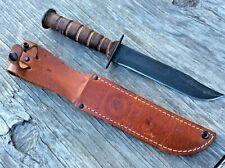 USMC US Marine Corp Fighting Knife W/Original Leather Sheath Case XX 1998 USA