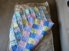 BABY DREAM TIME FLANNEL RAG QUILT SLEEPY TIME PRINTS PASTELS
