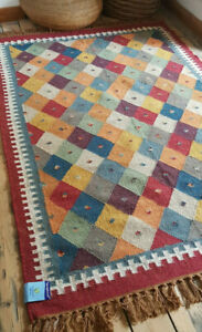 100% Wool Kilim Multi Diamonds 120x180cm Quality Hand Made Reversible rug