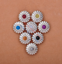 10X Bling Silver Flower Turquoise Conchos For Leather Craft Belt Wallet Decor