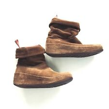 Fitflop Women's Size 5 Camel Crush Suede Ankle Boots Pull On Wobbleboard Boots