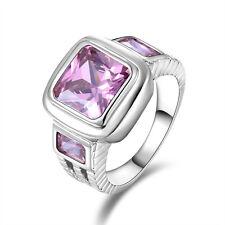 Fashion Cute Size 8 Men Womens Pink Sapphire 18K Gold Filled Rare Fashion Rings