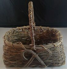 "small basket primitive handle rectangular bow gray 4.5"" Depth 9"" x 6"" x 9.5"""