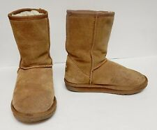 EMU Suede Boots Booties Wool Lining Brown Short Pull On Women's Size 5