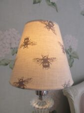 Handmade Candle Clip Lampshade in Fryetts Bumble Bee Linen Grey fabric