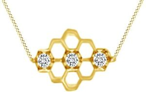 """Simulated Birthstone Honeycomb Pendant 18"""" Necklace 925 Yellow Gold Over Silver"""