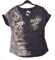 Genuine Harley Davidson Ladies/Women's Side Rose Dealer T-Shirt HarleyWorld