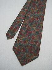 "LONDON FOG USA Made Men's Burgundy Green Abstract 100% Silk Necktie 56""x4""_T630"